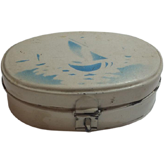 German Tin Breadbox, Stencil Design