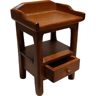 Dollhouse Furniture- Marked Toncoss Side Table With Drawer