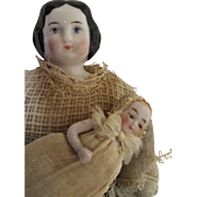 """6 1/2"""" Civil War China Dollhouse Doll With Bisque Baby"""