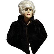 German Deco Boudoir Doll, Mohair Wig, Very Detailed Face