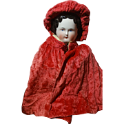 Antique Red Velvet Hooded Cape for China or Fashion Doll