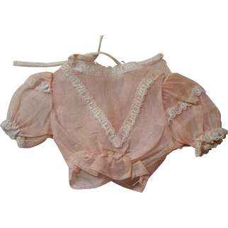 Vintage Pink Organza Peplum Blouse for Fashion or China Doll