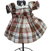 Sweet Plaid Muslin Doll Dress, Hand Sewn