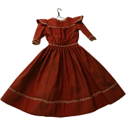 Primitive Handmade Red Wool Challis Dress For 18-20 Inch Doll