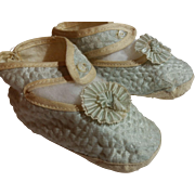Antique Pale Blue Silk French Bebe Doll Slippers, Leather Soles Rosettes 4""
