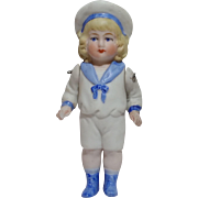 "German All Bisque 4"" Sailor Doll"