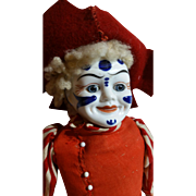 Ultra Rare Bisque French Clown Doll, Cloth Body