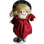 """Adorable 4 1/2"""" French Or German All Bisque, Original Outfit Blue Glass Eyes"""