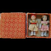 Twin Japanese Bisque Dolls In Original Box