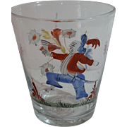 Rare Enamel Decorated Stiegel Type Folk Art Character Blown Glass Tumbler