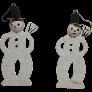 Two (2) Vintage Chimney Sweep Snowmen Ornaments