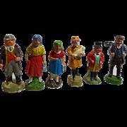 Six Vintage German Creche Figures