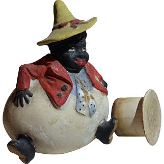 Heavy Plaster Ethnic Man On Egg Candy Container