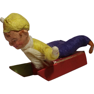 German Cotton Batting Sledder Ornament, Needs To Be Saved From A Polar Bear