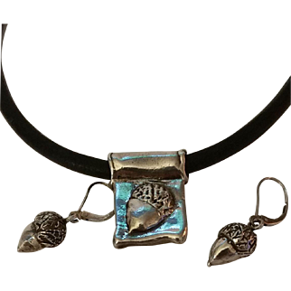Vintage Hand Crafted Sterling Silver Statement Acorn Necklace/ Earrings Set
