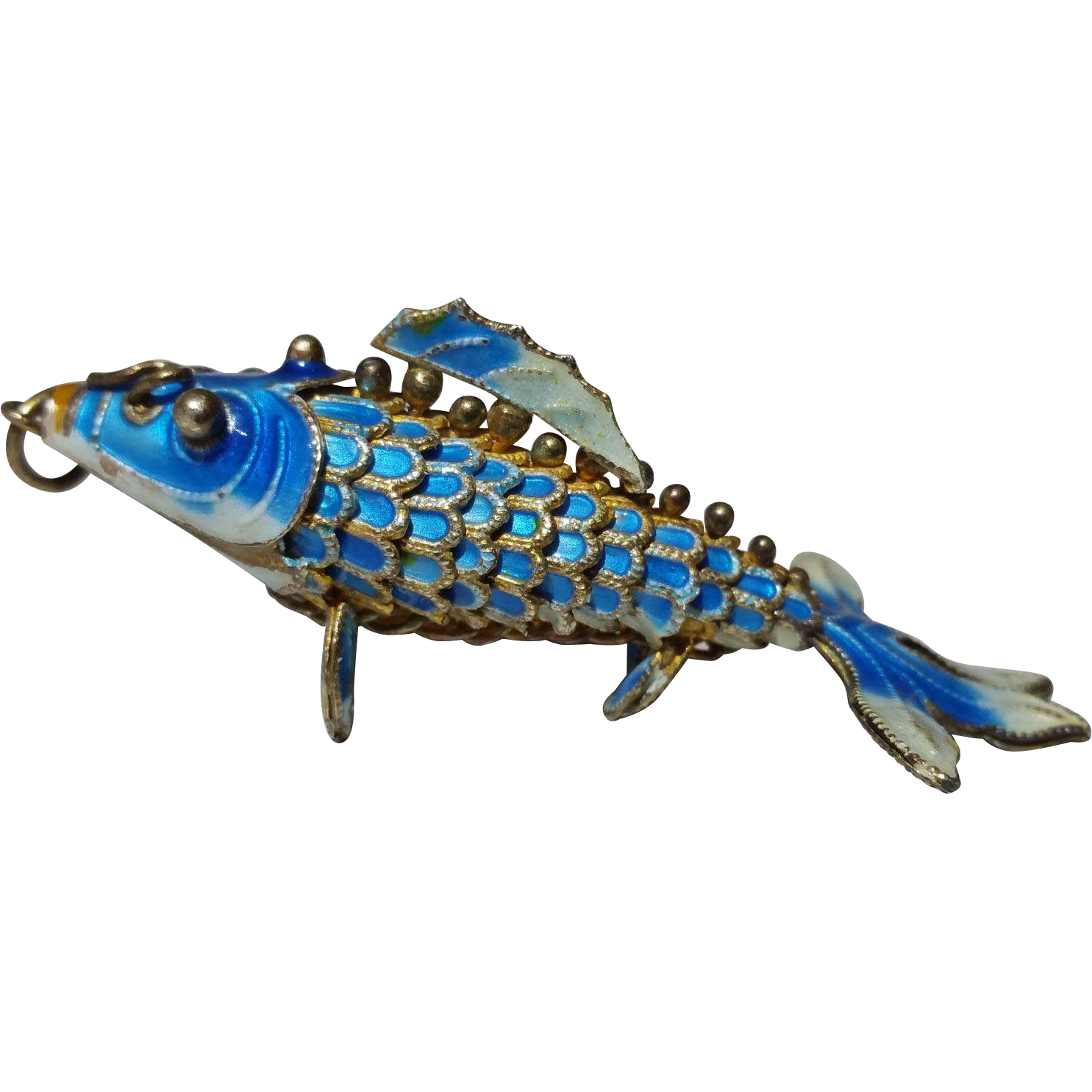 Vintage fully articulated silver and enamel koi fish for Koi fish for sale nj