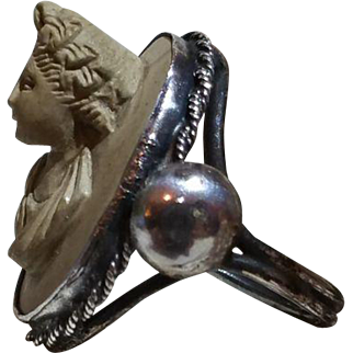 Rare Victorian Carved Lady Ring In Lava High Relief