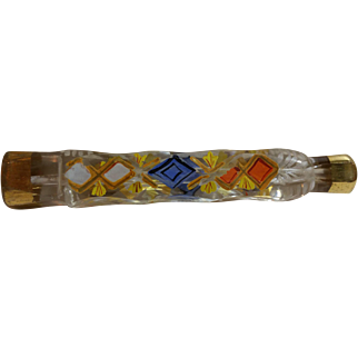 Unusual, Rare Victorian Era Multicolored Cut Crystal Lachrymatory Tear Catcher