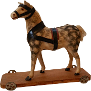 "4 1/4"" Tall Dappled Flannel Covered Horse Pull Toy On Platform With Wheels, Original Tack"