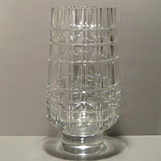 Exbor Faceted Clear Glass Vase - Czechoslovakia