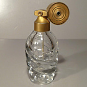 Marcel Franck Atomizer and Diagonally Cut Glass Perfume Bottle