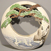 Japanese Banko Hanging Vase or Basket - Crescent Moon Shape