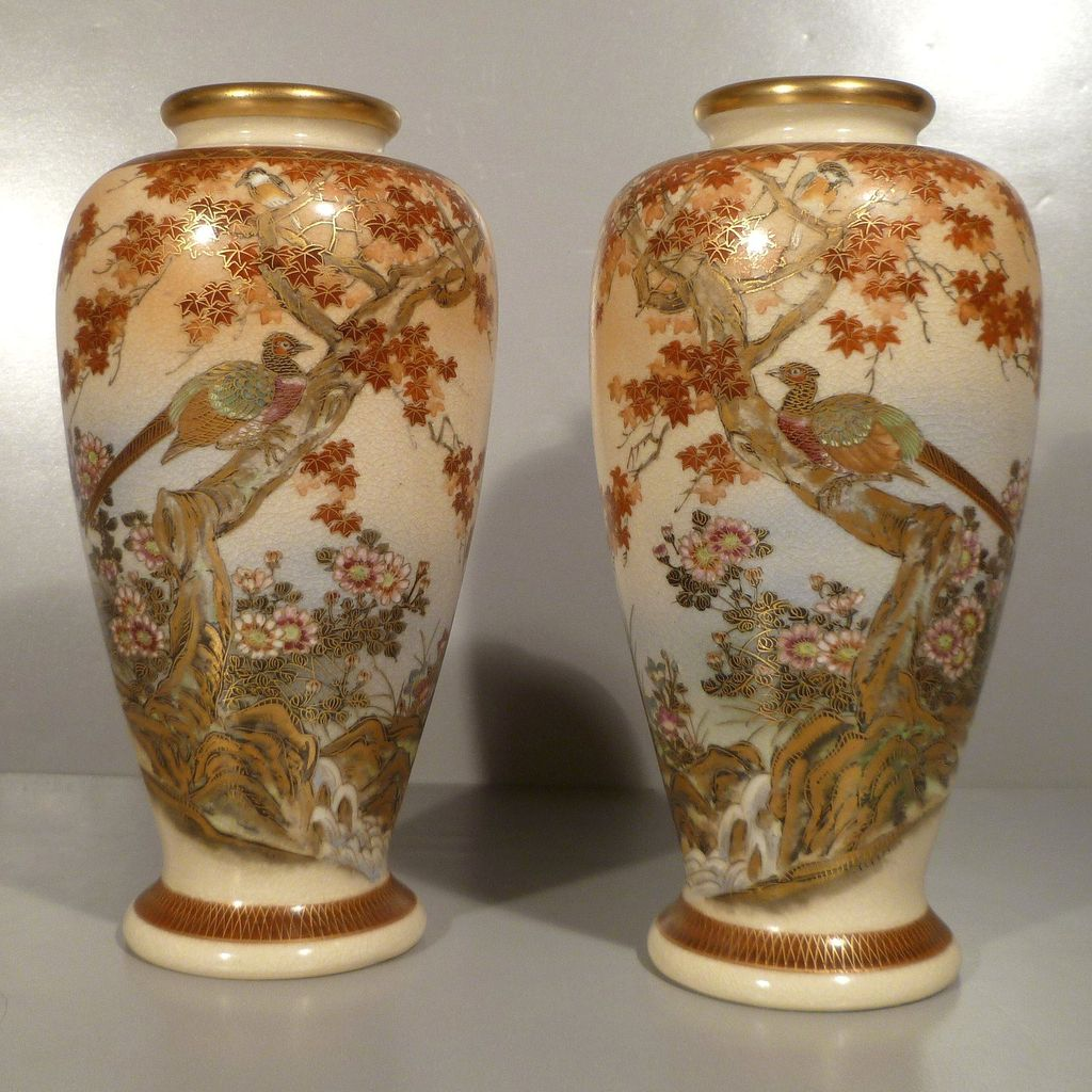 Satsuma Mirror Image Vases Showa Period Christopher Sue Walton Ruby Lane