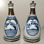 Pair Kutani Tokkuri or Sake Bottles  - Showa Period