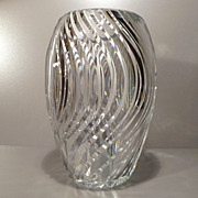Val St. Lambert Tall Ribbed Clear Vase