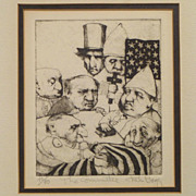 Charles Bragg Etching - The Committee - ca. 1960