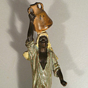 Vienna Bronze of a Native Woman Carrying a Jar - Franz Bergmann