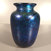 Iridescent Blue Elaine Hyde Art Glass Vase