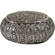 Antique Filigree Lidded Spice Box - Jerusalem ca. 1900