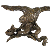 Bronze Bird and Snake Figural Group