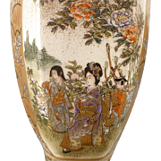 Beautiful Japanese Satsuma 6-Sided Vase - ca 1920