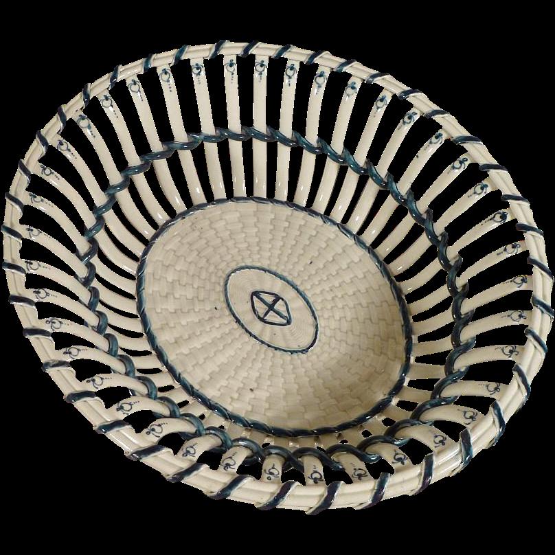 Wedgwood Basketweave Pearl Ware - Chestnut or Fruit Basket