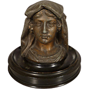 Spelter Woman Figural Bust Inkwell - Wood Base and Ceramic Ink Pot