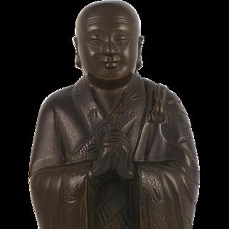 Standing Buddhist Monk - Chinese Bronze Figure