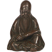 Japanese Bizen Fukurokuju Figure - God of Wisdom and Longevity