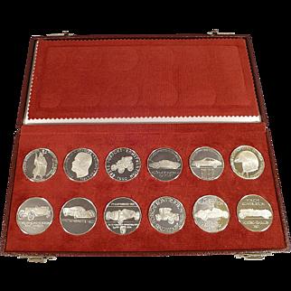 Porsche Silver Calendar Coins or Tokens - !st Set of 12 - 1962-1973