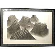Ryohei Etching of Thatched Rooftops - Pencil Signed and Numbered 1975