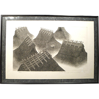 Ryohei Etching of Thatched Rooftops - Signed and Numbered 1975