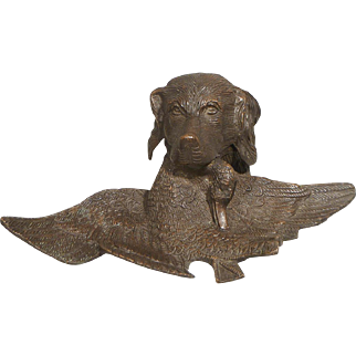 Inkwell - Vintage Brass Retriever and Waterfowl - Dog and Duck