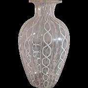 Murano Latticino Vase - Delicate Pink and White Canes