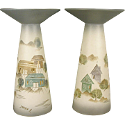 Sascha Brastoff Candlestick - Rooftops Design - Pair