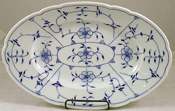 Meissen Style Flow Blue Platter In A Blue Onion Pattern
