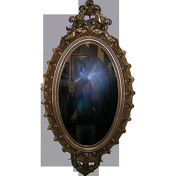 Circa 1850 Gilded Rococo Parlor Mirror