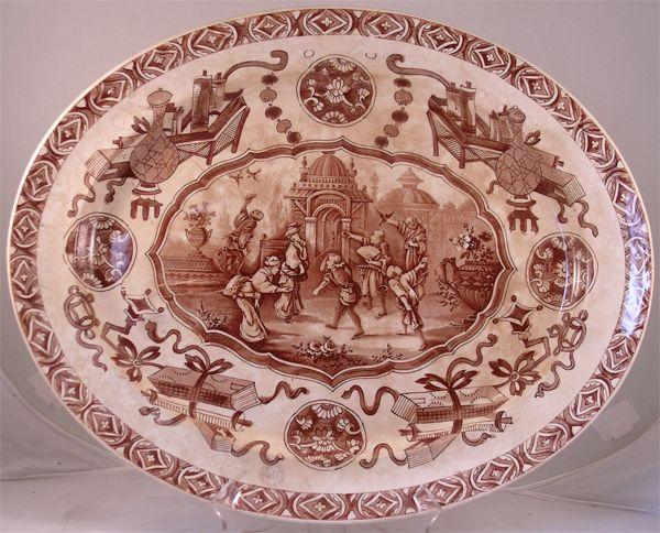 "Circa 1878 Staffordshire Serving Platter Ridgeway, ""Yeddo"" Pattern"