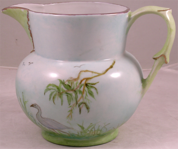 Charming Hand Painted Cider Pitcher With Birds