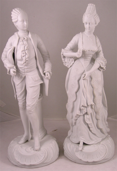 Tall French Style Parian Porcelain Statues of a Courting Couple